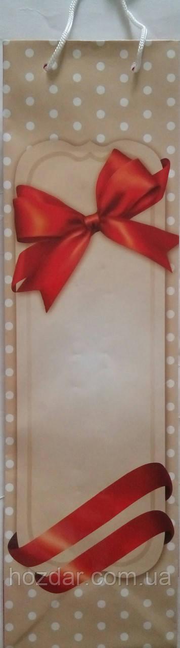 Пакет подарочный бумажный бутылка 12х36х9 (25-048)