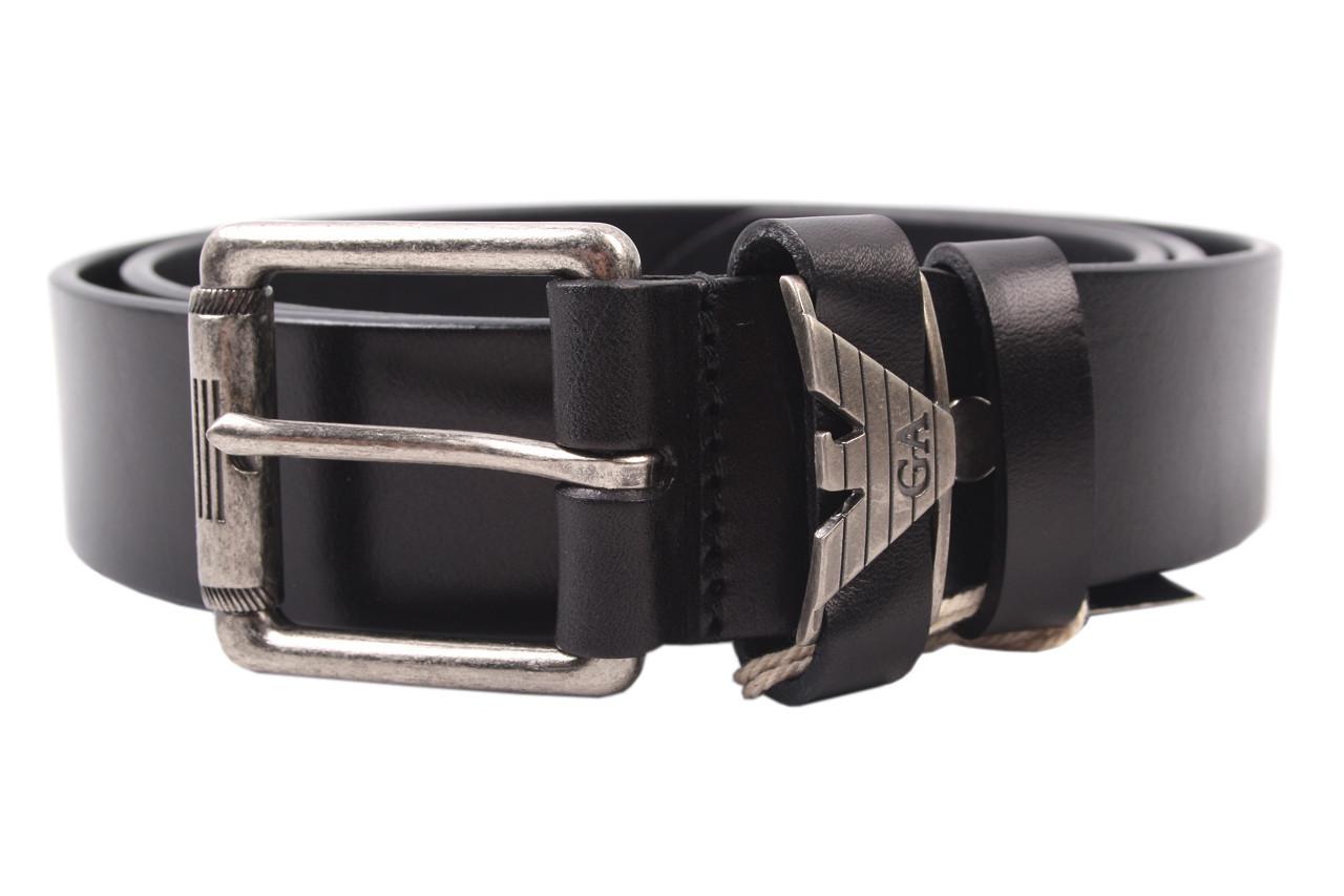 Ремень мужской Armani джинсовый, цвет черный, натуральная кожа (длина 120 см, ширина 3,5 см)