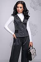 Элегантный женский костюм (костюмка, гипюр, широкие брюки, приталенная жилетка, лацканы) РАЗНЫЕ ЦВЕТА!
