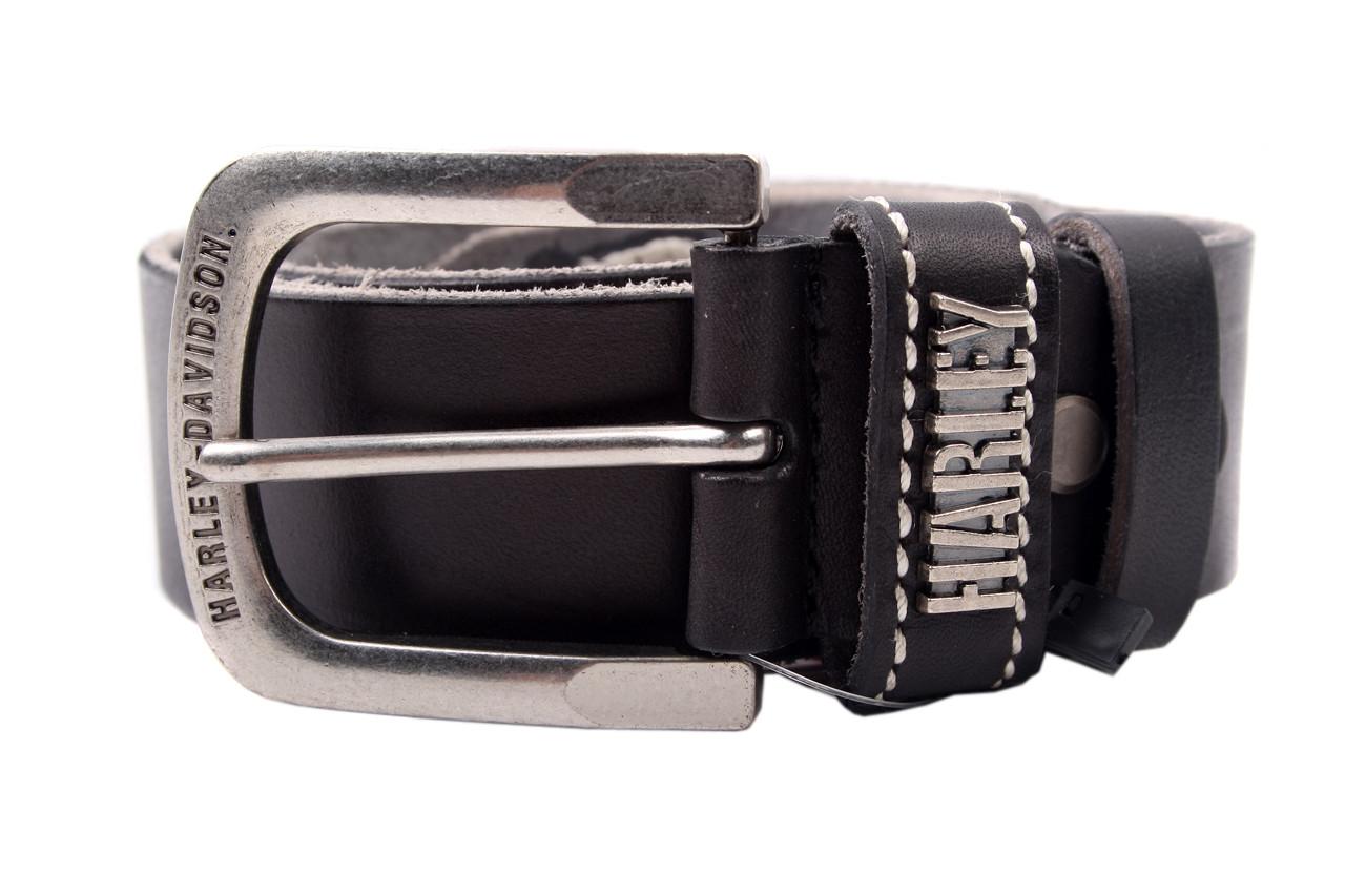 Стильный мужской ремень Harley джинсовый цвет черный, натуральная кожа (длина 110 см, ширина 3.5 см)