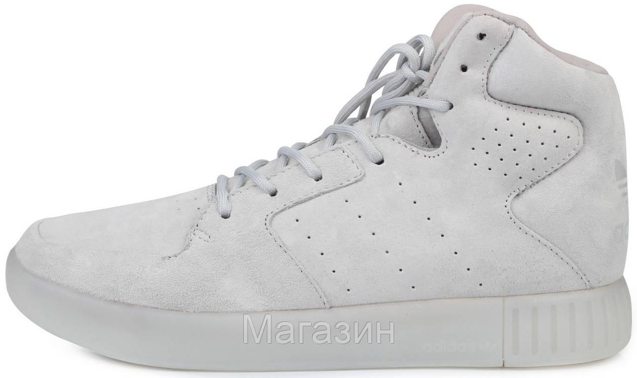 0d14c547 Мужские высокие кроссовки Adidas Originals Tubular Invader Grey Адидас  Тубулар серые