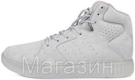 Мужские высокие кроссовки Adidas Originals Tubular Invader Grey Адидас Тубулар серые, фото 2