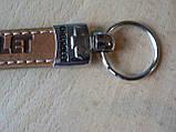 Брелок хлястик Chevrolet 117мм 18г светло коричневый ремешок с кольцом на авто ключи Шевролет  Уценка центр, фото 2