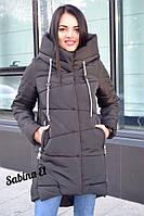 Пуховик зимний дутый с капюшоном длинный