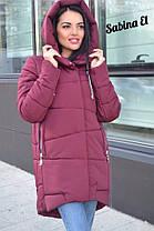 Пуховик зимний дутый с капюшоном длинный, фото 2