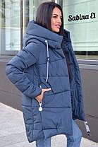 Пуховик зимний дутый с капюшоном длинный, фото 3