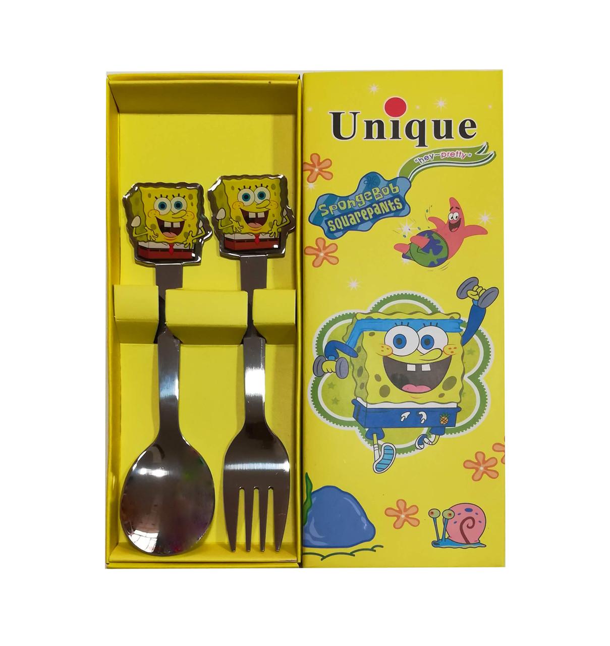 Набор детских столовых приборов ложка и вилка Спанч Боб