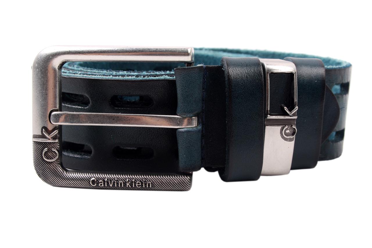 Ремень мужской Calvin Clein джинсовый, цвет синий, натуральная кожа (длина 120 см, ширина 3,5 см)