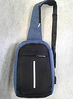 Cумка бананка синяя,рюкзак через плечо , фото 1