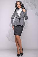 Красивий жіночий жакет з рюшів 42-48 розміри сірий, фото 1