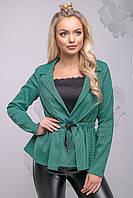 Красивий жіночий жакет з рюшів 42-48 розміри зелений, фото 1