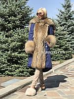 Парка с мехом енота, утеплитель-холлофайбер, фото 1