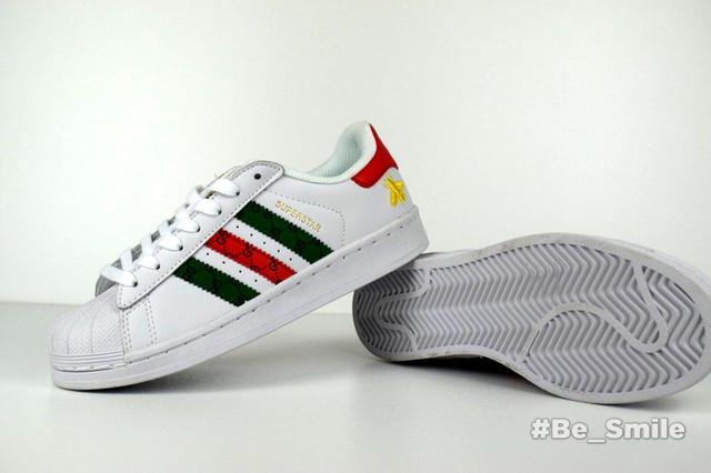 49bd30a53a3b56 Кроссовки Мужские Gucci X Adidas Superstar (белые) Top Replic — в ...