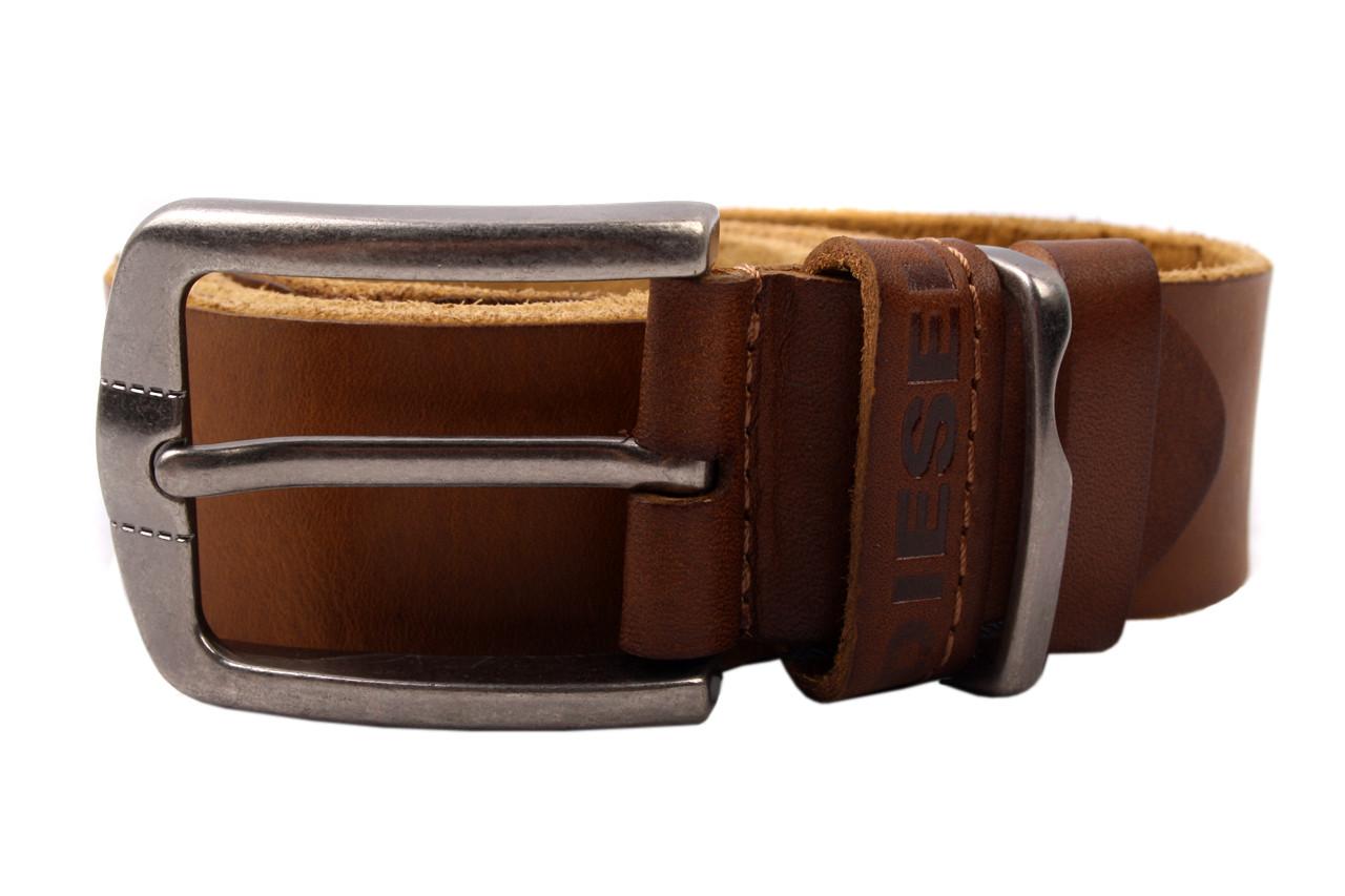 Ремень мужской прошитый DIESEL джинсовый, цвет рыжий, натуральная кожа (длина 115 см, ширина 3,5 см)
