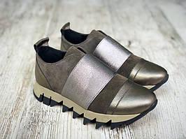 Модные кожаные слипоны 36-40 р хаки