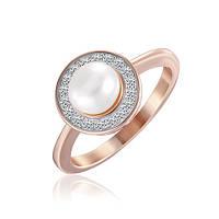 Позолоченое кольцо Жемчужина 585 пробы на серебре 925 пробы