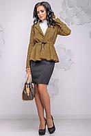 Красивий жіночий жакет з рюшів 42-48 розміри горчиный, фото 1
