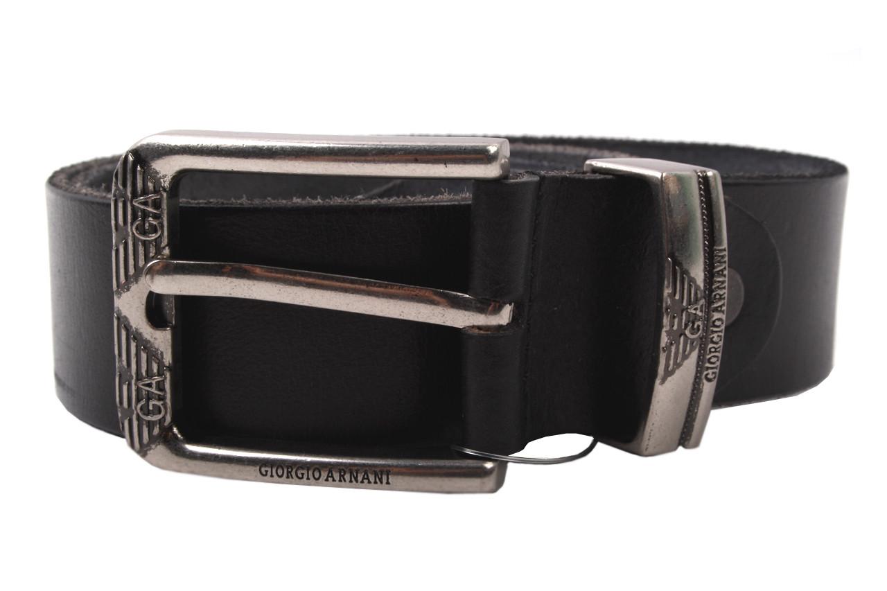 Мужской ремень Armani джинсовый, цвет черный, натуральная кожа (длина 110 см, ширина 3,5 см)