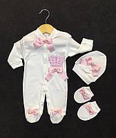 """Шикарный нарядный набор для новорожденных для девочки """"Королева""""  Турция р. 62 МАЛОМЕРИТ"""
