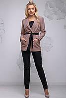 741fcc23d13 Модный женский брючный костюм с жакетом 44-54 размера бежевый