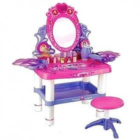 Детское музыкальное трюмо для принцесс. со стульчиком M 0395 фен жужжит и дует. Столик сверкает и поет