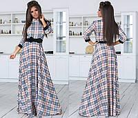 Длинное платье в клеточку