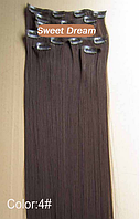 Набор накладных прядей на заколках-клипсах из 7-ми штук, наращивание волос, искусственные волосы, цвет №4