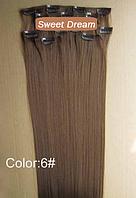 Набор накладных прядей на заколках-клипсах из 7-ми штук, наращивание волос, искусственные волосы, цвет №6