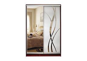 Шкаф-купе Зеркало/Зеркало с рисунком пескоструй двухдверный Стандарт, ТМ Матролюкс