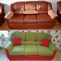 Перетяжка мягкого объемного дивана
