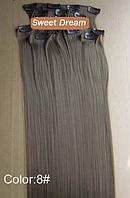 Набор накладных прядей на заколках-клипсах из 7-ми штук, наращивание волос, искусственные волосы, цвет №8