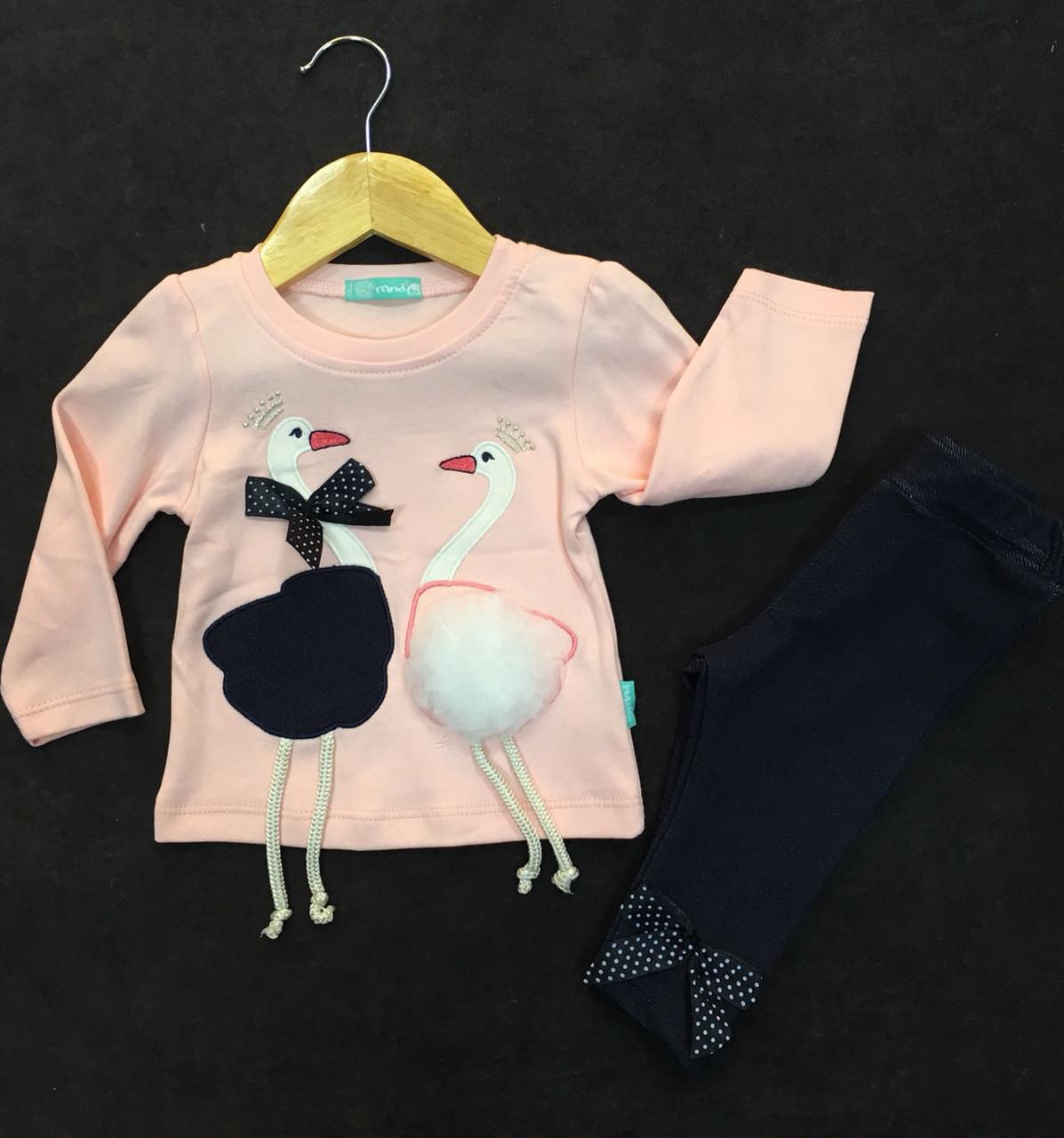 """Шикарный костюм """"Мама, папа аисты"""" для новорожденной девочки Турция р.  86"""