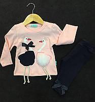 """Шикарный костюм """"Мама, папа аисты"""" для новорожденной девочки Турция р.  86, фото 1"""