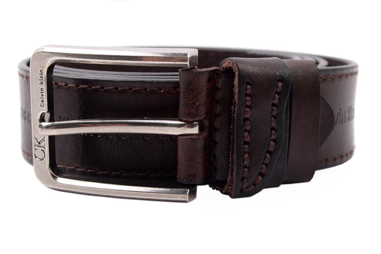 Мужской ремень Calvin Clein джинсовый, цвет коричневый, натуральная кожа (длина 130 см, ширина 3,5 см)