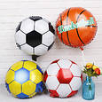 Фольгований куля цілий футбольний м'яч жовто блакитний діаметр 45 см, фото 2