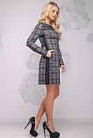 Класичне жіноче плаття в клітку з довгим рукавом 42-54 розміру чорно-сіра клітинка, фото 1