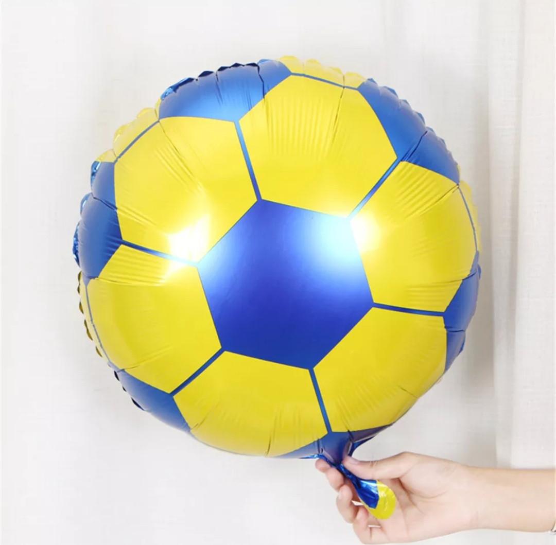 Фольгированный шар круглый футбольный мяч желто голубой  диаметр 45 см