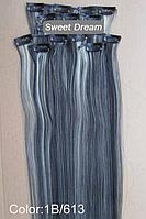 Набор накладных прядей на заколках-клипсах из 7-ми штук, наращивание волос, искусственные волосы, цвет №1В\613