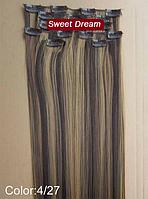 Набор накладных прядей на заколках-клипсах из 7-ми штук, наращивание волос, искусственные волосы, цвет №4\27