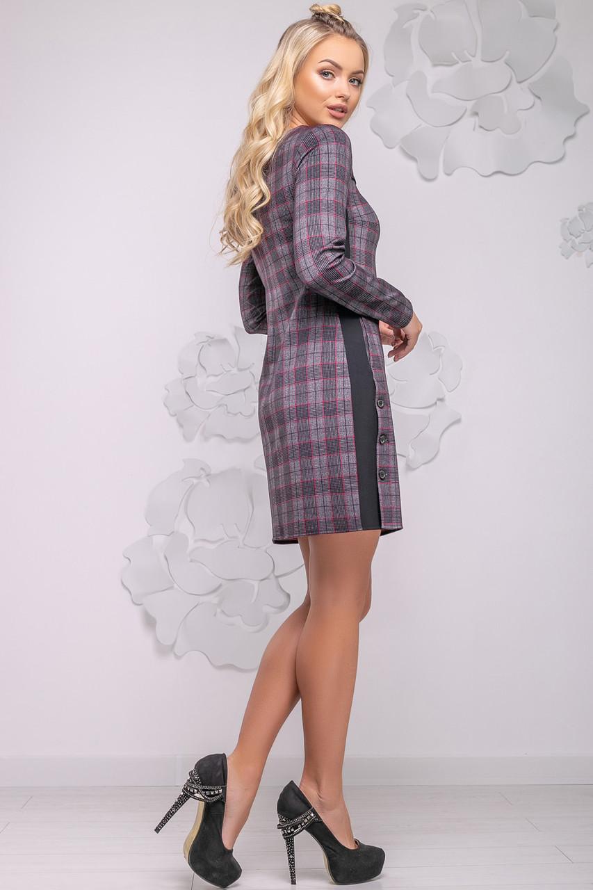aa5ce2e872def7f Классическое женское платье в клетку с длинным рукавом 42-48 размера  черно-красная клетка, цена 560 грн., купить в Виннице — Prom.ua  (ID#769583508)