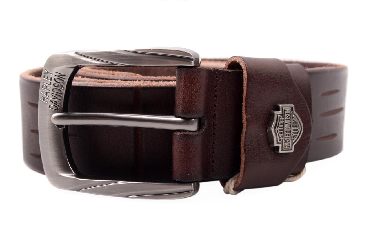 ceb90160094f Ремень мужской HARLEY джинсовый, цвет коричневый, натуральная кожа (длина  115 см, ...
