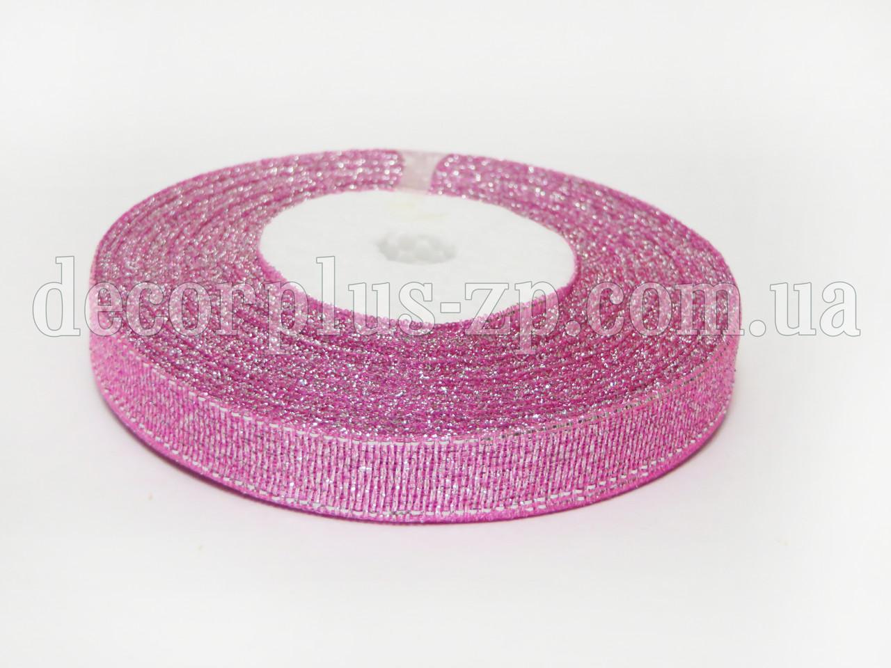 Лента парча 0.9см, розовая