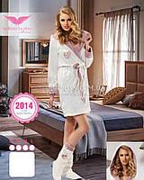 Молочный халат с вышивкой Bellezza бамбуковый № 2014