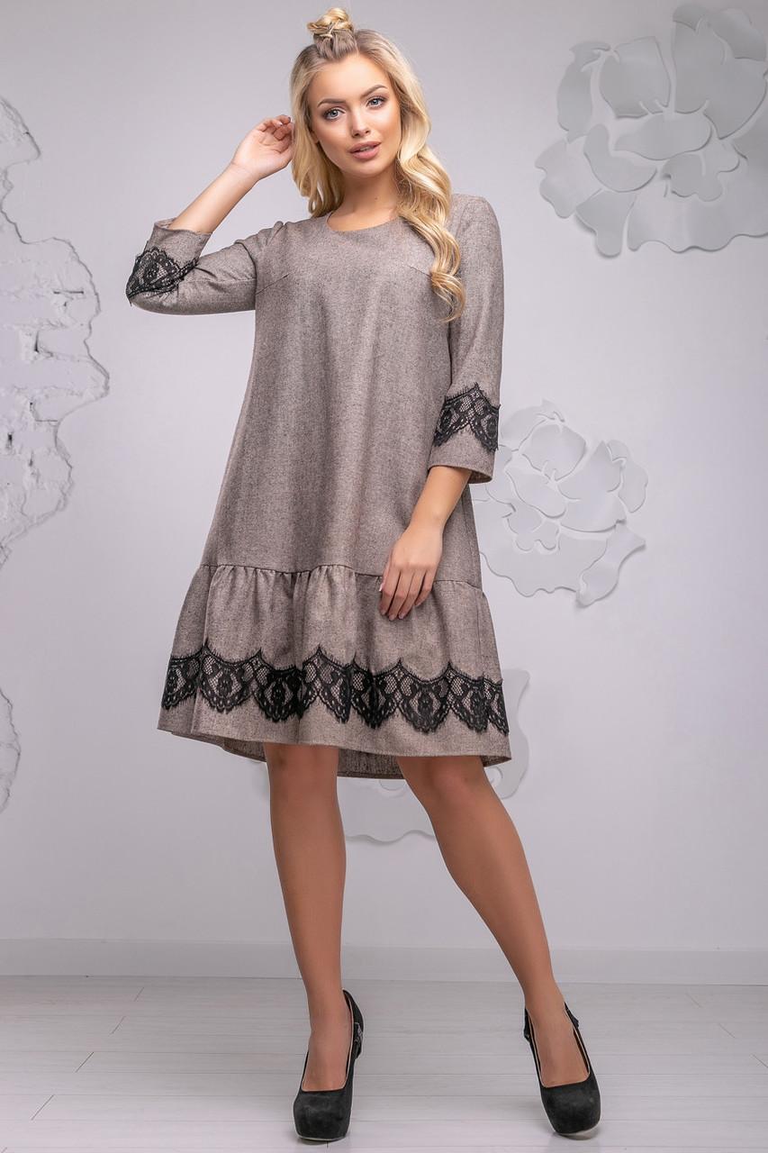 1625f6dd2c2 Красивое повседневное женское платье прямого кроя с рюшей по низу 44-50  размера коричневое -