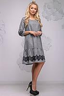 Красиве повсякденне жіноче плаття прямого крою з рюшами по низу 44-50 розміру чорне, фото 1