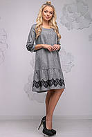 Красивое повседневное женское платье прямого кроя с рюшей по низу 44-50 размера черное, фото 1