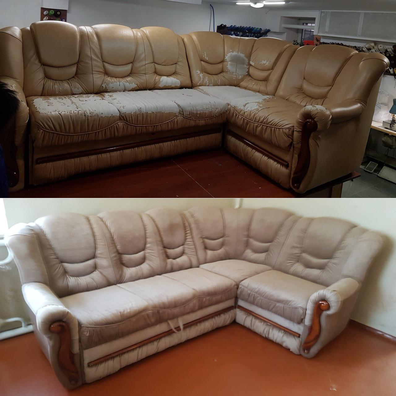 Перетяжка объемного углового дивана