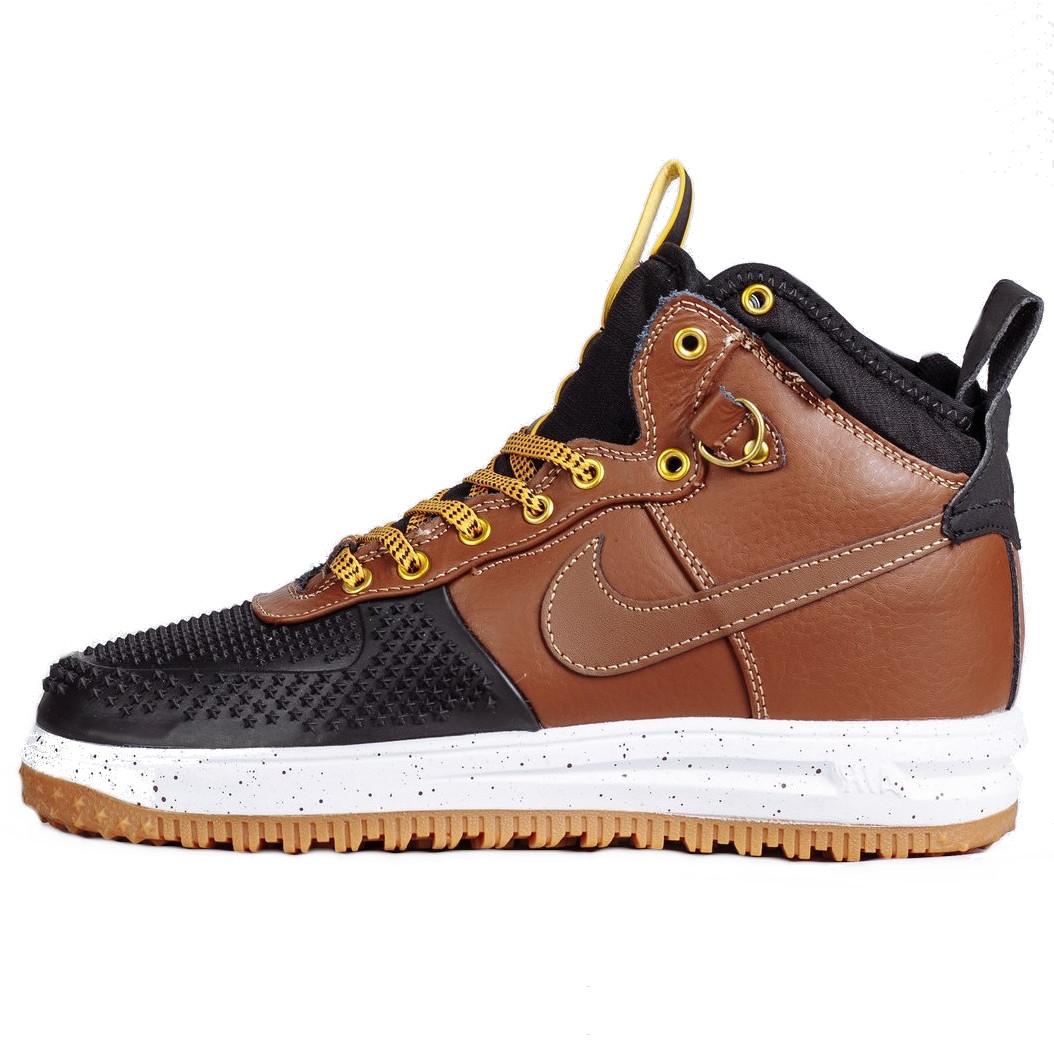 Кроссовки мужские Nike Air Lunar Force Duckboot (коричневые) зимние (Top replic)
