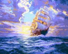 Картина по номерам Роспись на холсте Рассвет под парусами КНО2715