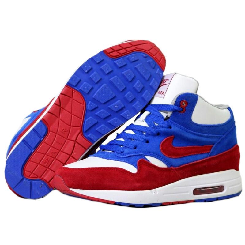 e455a13b Кроссовки Мужские Nike Air Max 87 (синие-красные-белые) МЕХ, Зимние ...